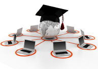 Image: Globe with cap and tassel with laptops surrounding it - DigitalGenetics - Fotolia